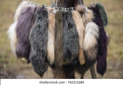 tails for hats made of natural fur