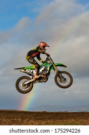 TAIN, ROSS AND CROMARTY, SCOTLAND - 2 FEBRUARY: An unidentified Motocross Rider is practising at an open to the public MX Track situated at Tain, Ross and Cromarty, Scotland on 2 February, 2014.