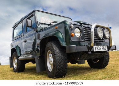 TAIN, SCOTLAND - June 17 2018: Land Rover Defender at a vintage car rally