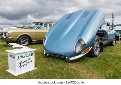 TAIN, SCOTLAND - June 17 2018: Classic Jaguar E Type at a vintage car rally