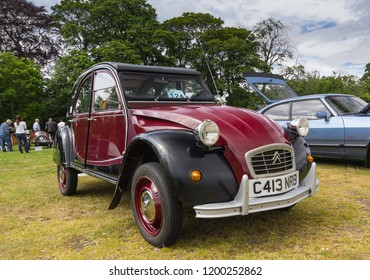 TAIN, SCOTLAND - June 17 2018: Classic Citroen 2CV at a vintage car rally.