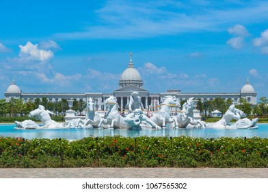 Tainan City, Taiwan - 2015 June 12th: The Apollo Fountain Plaza of Chimei art Museum in Tainan City, Taiwan. The statues are made of Italian Carrara marble.