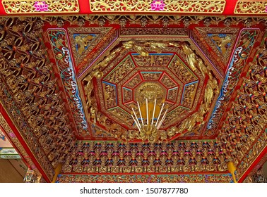 Tainan City, Taiwan - January 27th,2019 :sunk panel at The Jade Emperor Temple