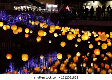 Tainan City,Taiwan - Feb 12th ,2018: Tianjin Port Festival from 2012 began to organize gorgeous view of the river May Jingang Festival in Taiwan during the Spring Festival to important activities.