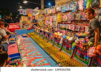 Tainan, Taiwan - April 13, 2019 : Tainan Flower Night Market or Garden Night Market, is a tourism night market in North District, Tainan, Taiwan.