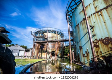 TAINAN, TAIWAN August 2, 2018: Ten drum culture area in Tainan which is reconstruction from old sugar factory.