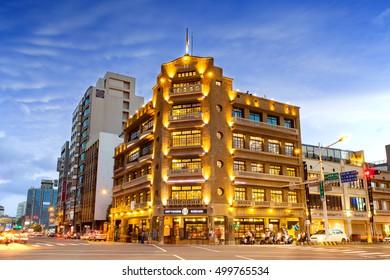 Tainan, Taiwan - August 20: Night Scene of Hayashi Department Store in Tainan.