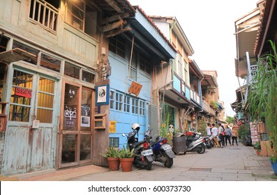 TAINAN TAIWAN - DECEMBER 11, 2016: Unidentified people visit Shennong street. Shennong historical street is an unique place with the history of Old Port during Dynasty Qing.