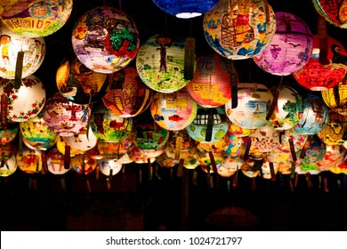 Tainan, Taiwan - February 10, 2018: Pu Ji Temple Lunar New Year Painted Lantern Festival in Tainan.