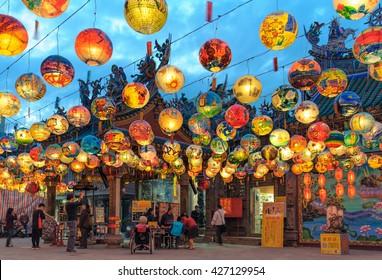 Tainan, Taiwan - February 28, 2016: Pu Ji Temple Lunar New Year Painted Lantern Festival in Tainan. Pu ji temple the first Wang Ye Temple in Taiwan.