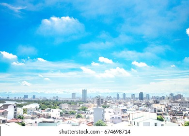 TAINAN TAIWAN - JULY 5, 2017:A beautiful view of Tainan City, Taiwan.Overlooking from Anping District to east. The central mountains in Taiwan can be seen through clear sky.