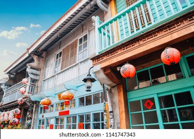 Tainan, Taiwan - May 9, 2018 : Shennong Street, vintage style shop and cafe street