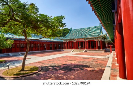 TAINAN, TAIWAN - NOVEMBER 4, 2017: Koxinga Shrine on 4 November 2017 in Tainan, Taiwan.In 1661, Koxinga successfully drove out the Dutch. Following his death, Tainan residents erected the temple.