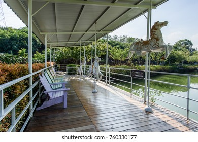Tainan, Taiwan-November 17, 2017:Color wooden chair in White  Church Park for Tourism and Photo Shooting in Yujing.