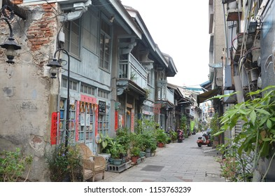 Tainan/Taiwan_Sep 18 2017: A quaint little side street that retains how old Tainan looks like. It has some F&B outlets, a clan association etc.