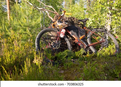 TAIPALSAARI, FINLAND - JULY 1, 2015: Adventure bike with mountain bike and touring bike capabilities in the lush forest in Eastern Finland.