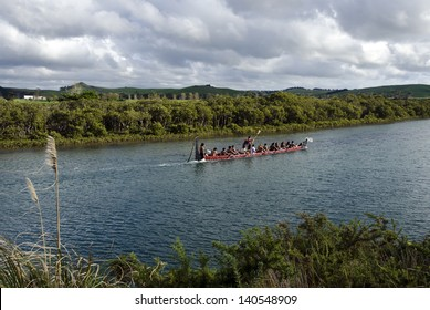 TAIPA,NZ - MAY 18:Maori War Waka on May 18 2013. Waka taua (war canoes) are large canoes manned by up to 80 paddlers and are up to 40 meters (130 ft) in length.