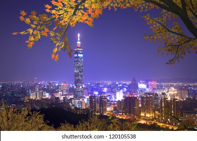 taipei 101, the tallest building mixed with nice maple in Taiwan