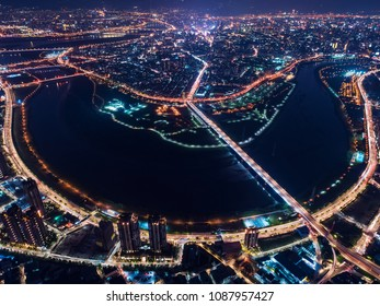 Taipei City Skyline Aerial View - Asia modern business city, cityscape (night view) birds eye view at night, shot in New Taipei, Taiwan.