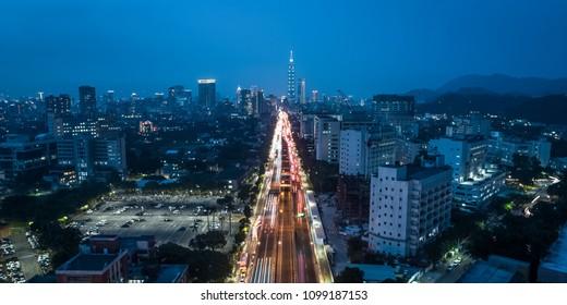 Taipei City Skyline Aerial View - Birds eye night view use the drone in Taipei, Taiwan.