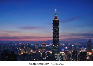Taipei City skyline at dark