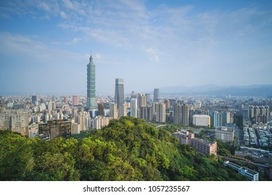 Taipei City Skyline at Sunrise - Capital city of Taiwan, asia modern business city, panoramic cityscape birds eye view for commercial advertising, shot in Taipei, Taiwan.