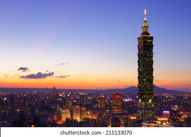 Taipei City Skyline at sunset, Taiwan