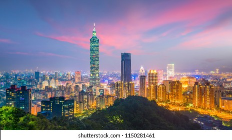 Taipei city skyline at twilight in Taiwan