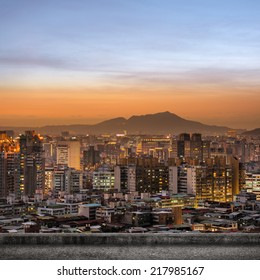 Taipei city sunset scenery with concrete ground and nobody.