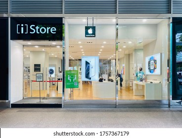 Taipei City, Taiwan - 06/01/2020: Entrance of  Apple's iStore in Taipei, Taiwan. The iStore is a major chain of retail stores owned by Apple Inc., selling computers and consumer electronics.