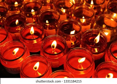 Taipei City, Taiwan - February 5th,2019 : red prayed candle at Temple in Taiwan