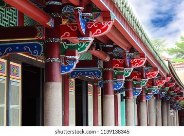 Taipei City, Taiwan - May 25th,2018 : ridge of Taipei Confucius Temple