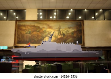 Taipei City, Taiwan - May 5th , 2019 : model of Tuo River class corvette