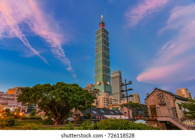 Taipei City, Taiwan-September 30, 2017: Landscape Night View of Taipei City and Taipei 101 with Colorful Sunset from Forty-Four South Village(Si-Si Nan Cun) Quancun Museum