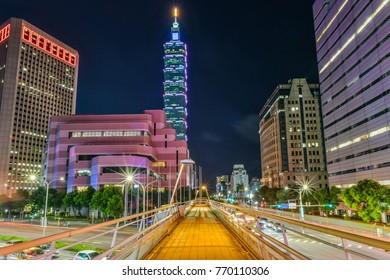 Taipei City, Taiwan-September 30, 2017: Landscape Night View of Taipei City and Taipei 101 From The Foot Bridge at The Crossroad of Keelung Rd and Xinyi Road