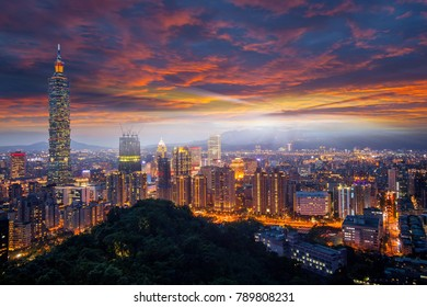 The Taipei city towers over the Xinyi District at twilight