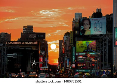 Taipei City,Taiwan - Aug 13th,2019 : Manhattanhenge at Taipei's Ximending area in Taipei City