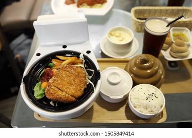 Taipei City,Taiwan - Aug 5th,2019 : Modern Toilet signature hot pot at Modern Toilet Restaurant