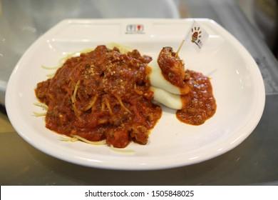 Taipei City,Taiwan - Aug 5th,2019 : spaghetti meat sauce at Modern Toilet Restaurant