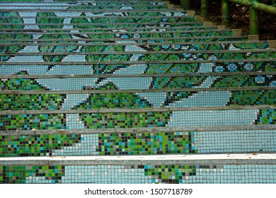 Taipei City,Taiwan - July 15th,2019 : mosaic tiles on the stairs at  Yangmingshan National Park