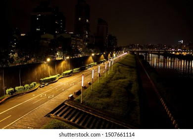 Taipei City,Taiwan - Sep 16th,2019 : Rainbow Bridge is open only to people and bicycle traffic, but also to and from the lake and Matsuyama Raohe Night Market, Bikeway beside the river