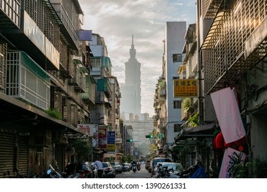Taipei, DEC 17: Afternoon sunset view of the Taipei 101 and old residence area on DEC 17, 2018 at Taipei, Taiwan
