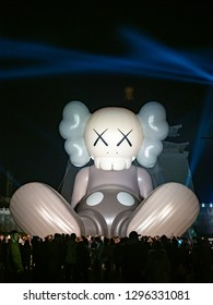 TAIPEI - JAN 27: KAWS Copmanion balloon facade on JANUARY 27, 2019 in Taipei,Taiwan.It is a big air formwork with a representative character 'COMPANION' of KAWS (real name: Brian Donnelly)