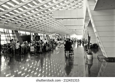 TAIPEI - JULY 20: A general view of departure lobby Taipei International Airport on July 20, 2014 in Taipei, Taiwan. It's the busiest airport in the country and main hub for China airlines