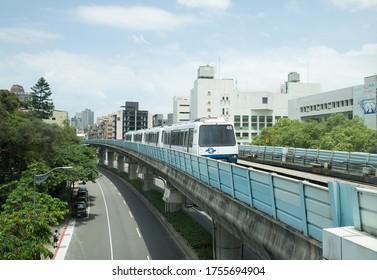 Taipei Metro Wenhu Line. June 14, 2020 - Taipei, Taiwan. MRT Runs on Elevated Rails.