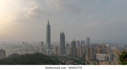 Taipei Skyline at before sunset in Taiwan Dec 2016