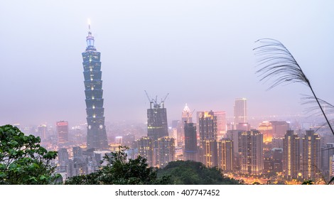 Taipei Skyline at night time in Taiwan Apr 2016