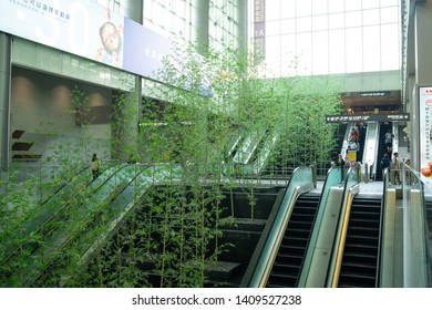Taipei, Taiwan - 07 April 2019: Fake bamboo forest next to escalators in the Taipei Airport MRT Station with a big window in the background
