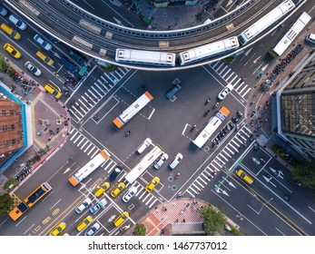 Taipei, Taiwan - 08/02/2019 : Aerial view of cars and trains with intersection or junction with traffic, downtown. Financial district and business area in transportation urban city technology concept.