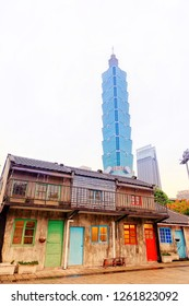Taipei / Taiwan - 12/10/2018: Taipei 101 building taken from Ci Ci Nan Cun village